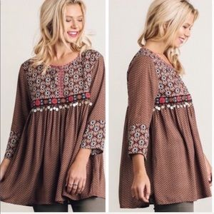 Brown Boho Chic Tunic Babydoll Blouse Size Small
